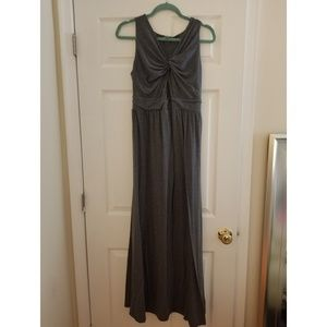 Motherhood maternity gray maxi dress twist front M